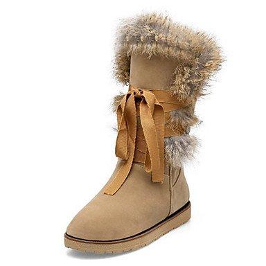 RTRY Zapatos De Mujer Suede Otoño Invierno Confort Novedad Botas De Nieve Botas De Moda Botas De Tacón Plano Ronda Toe Botas Mid-Calf Feather Lace-Up Para US8.5 / EU39 / UK6.5 / CN40