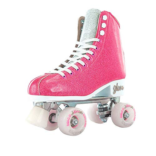 Crazy Skates Glam Roller Skates for Women and Girls | Dazzling Glitter Sparkle Quad Skates | Pink with Silver (Size 1)