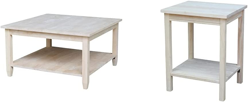 International Concepts Coffee Table, Unfinished & Accent Table, 14 L x 16 W x 20 H inches, Unfinished