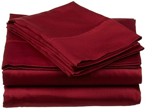 10' Deep Shelf - 600 Thread Count 4-Piece 100% Cotton Sheets - Burgundy Long-staple Cotton Full XL Sheets, Fits Mattress Upto 10'' Deep Pocket, Sateen, Soft Cotton Bed Sheets and Pillowcases Solid
