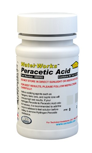 Industrial Test Systems WaterWorks 480065 Peracetic Acid Test Strip, 32 Seconds Test Time, 0-100 ppm Range (Pack of 50)