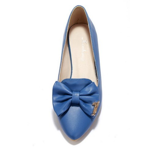 VogueZone009 Womens Closed Pointed Toe PU Soft Material Solid Flats with Bowknot Blue rIccRWDEp