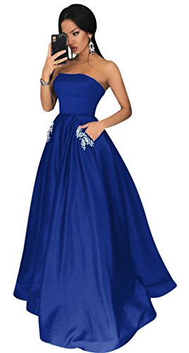 Yangprom Charming Strapless Long Satin Ball Gown Prom Dresses with Pockets (20W, Royal Blue)
