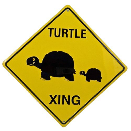 Turtle Crossing Xing Metal Tin Funny Road Sign by Upfront - Decor Time