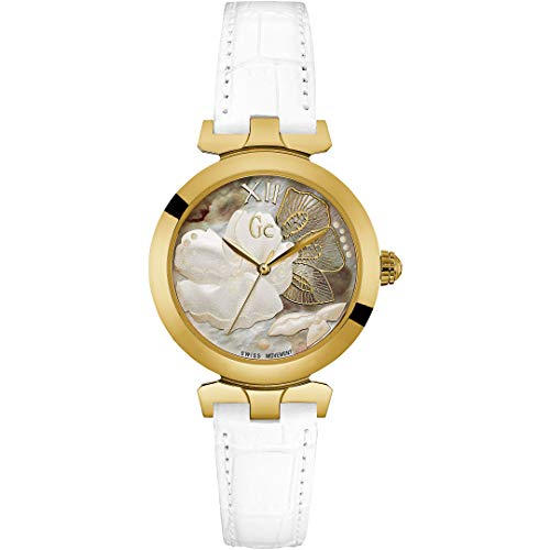 Guess Collection Women Analogue Swiss Quartz Watch with White Leather Strap Y22004L1 GC Lady Belle Sport Chic Collection