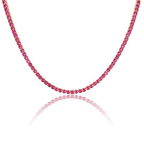 JINAO 18K Gold Plated 1 Row 4MM Diamond Iced Out Chain Macro Pave CZ Hip Hop Tennis Necklace (Red 22'' Chain) ()