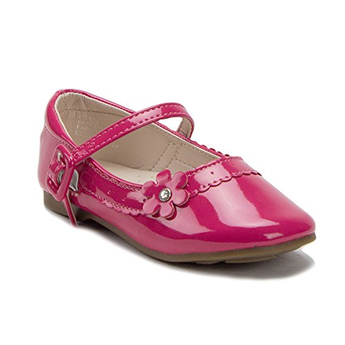 J'aime Aldo Toddler Girls Scalloped Patent Leather Round Toe Mary Jane Flats Shoes, Fuchsia, 9