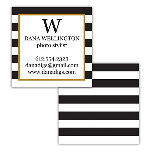 Black Stripe 2x2 Square Personalized Business Cards 250 Full Color - Design on Front and Back - Custom - Full Color Metal
