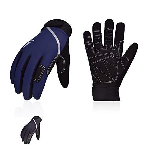 Vgo... 2Pairs Men's Breathable Sailing, Boating, Rowing and Kayaking Gloves(Blue&Black, SL0054)