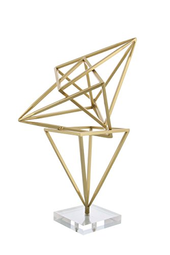 Deco 79 56941 Intertwined Iron Triangular-Prism Sculpture, 19