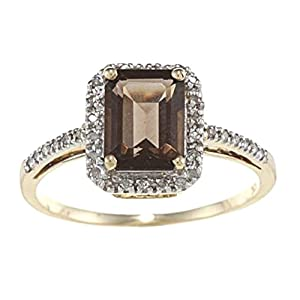 Instagems 10k Yellow Gold Emerald Cut Smoky Quartz and Diamond Halo Ring