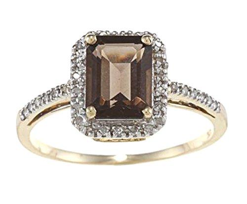 10k Yellow Gold Emerald Cut Smoky Quartz and Diamond Halo Ring