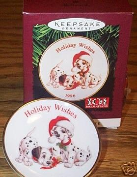 101 Dalmatians Holiday Wishes Collector's Plate Ornament - 1996 Hallmark Keepsake Ornament