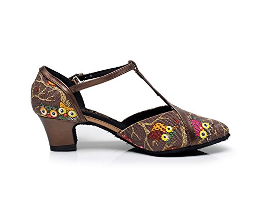 Latin Moderne UK6 heeled5cm Bout JSHOE Our40 Brown Womens Chaussures Salsa Dance Talon Sandales Jazz EU39 Haut Tango Fermé 411xA