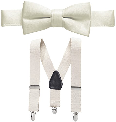 Hold'Em Suspender and Bow Tie Set for Kids, Boys, and Baby - Proudly Made in USA - Extra Sturdy Polished Silver Metal Clips, Pre tied Bow Tie-Ivory 22