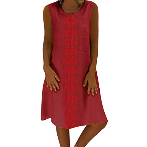 (NEEKEY Dress for Women Plus Size, Summer Fashion Casual Print V-Neck Loose Linen Dress Red)