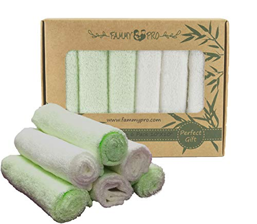 (FAMMY Bamboo Baby Washcloths & Towels - Ultra Soft & Absorbent for Baby's Sensitive Skin & 100% Natural, Dye Free, Reusable Wipes Perfect Gift 10
