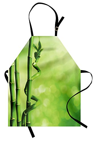 Lunarable Green Apron, Bamboo Stems Nature Ecology Sunbeams Soft Spring Scenic Spa Health Relaxation, Unisex Kitchen Bib Apron with Adjustable Neck for Cooking Baking Gardening, Green Pale Green by Lunarable (Image #3)
