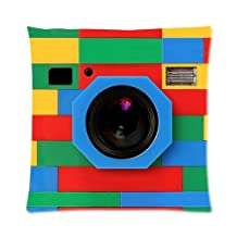 """classic Retro Full Color Rubik Cube Camera Zippered Pillow Case 20""""x20""""(Two Sides)"""