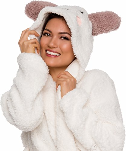 3d6605025f Silver Lilly Women s Animal Hooded Robe - Plush Short Lamb Bathrobe