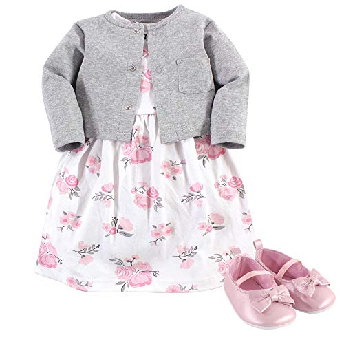 Hudson Baby Girl Baby Cardigan, Dress and Shoes, 3-Piece Set, Pink/Gray Floral, 6-9 Months (9M) -