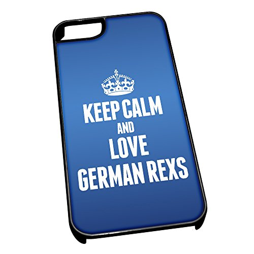 Nero cover per iPhone 5/5S, blu 2107 Keep Calm and Love German Rexs