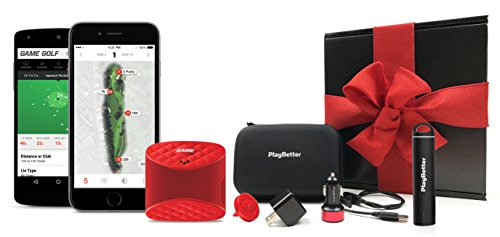 Game Golf LIVE Golf Tracking System GIFT BOX | Includes PlayBetter Portable Charger, Hard Carrying Case, PlayBetter USB Car & Wall Charging Adapters | GPS Golf Tracking | Gift Box, Red Bow by PlayBetter