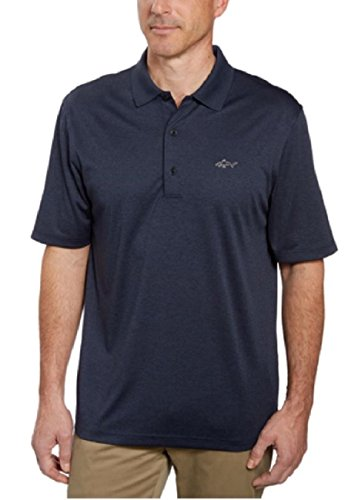 Greg Norman Signature Series Men's ML75 Play-Dry Performance Polo Shirt (Medium, Navy Heather)