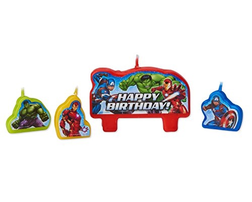 American Greetings Avengers 4 Birthday, Candles, 4-Count (Candle Toys)