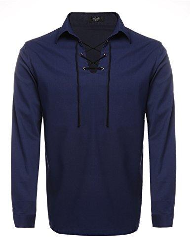 Navy Blue Kilt - Coofandy Mens Scottish White Jacobite Ghillie Kilt Shirt Blue S, Navy Blue, Small