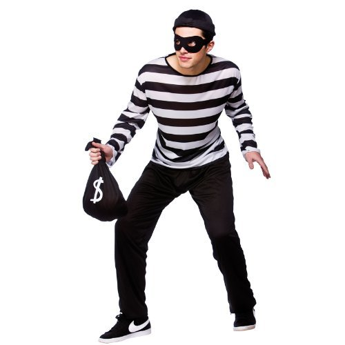 (L) Mens Burglar Robber Costume for Cops Police Robbers Law Fancy Dress Mans Male by Wicked Wicked
