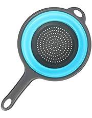 Keuken, opvouwbare siliconen zeefvergieten, inklapbaar vergiet met handgrepen, ruimtebesparend, vouwzeefvergiet voor het aftappen van pasta, groente (blauw)