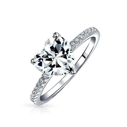 2.5CT Heart Shape Solitaire AAA CZ Engagement Ring For Women Thin Band Cubic Zirconia 925 Sterling Silver Promise Ring (Heart Shaped Engagement Rings)