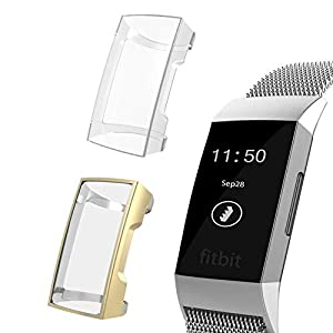 【2 Pack】 YiJYi Compatible with Fitbit Charge 3 Screen Protector, Soft Slim Full Around Protective Fitbit Charge 3 Case Cover for Fitbit Charge 3 and Fitbit Charge 3 SE