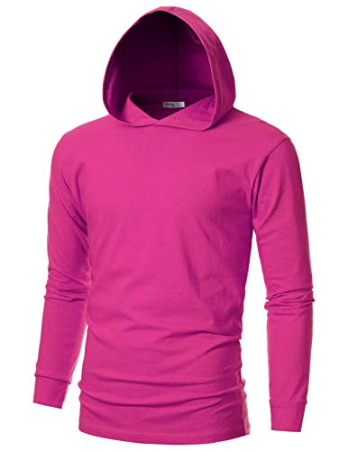 OHOO Mens Slim Fit Long Sleeve Lightweight Echo Knit Hoodie with Kanga Pocket/DCF110-CHERRYPINK-2XL ()