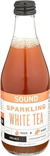 SOUND Sparkling Organic White Tea with Peach and Ginger 12 Ounce, 12 Count ()