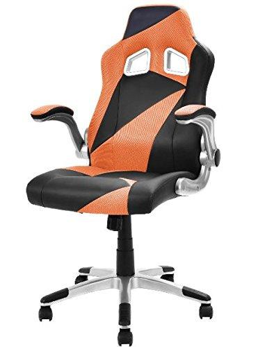 41ZXJND1TsL - KA-Company-Chair-Style-High-Back-Gaming-Racing-Ergonomic-Office-Leather-Pu-Swivel-Computer-Executive-360-Degree-5-Wheels-Mesh-Bucket-Seat-Orange