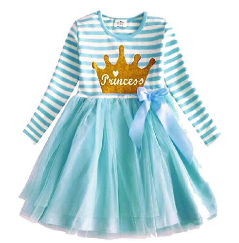 VIKITA Toddler Girl Princess Crown Winter Long Sleeve Tutu Party Dresses for Girls 3-7 Years, Knee-Length (LH4562, 8 Tall)