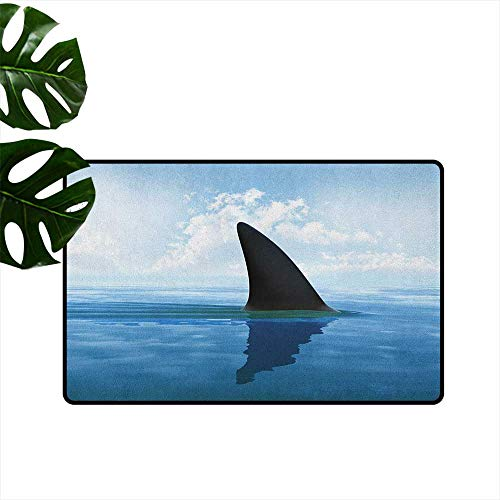 Shark,Outdoor Floor Mats Shark Fish Fin Over The Sea Surface Danger Caution Themed Picture 36
