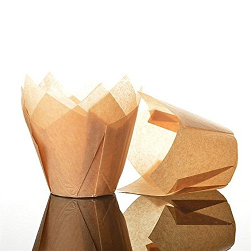 50 St/ück Standardgr/ö/ße karamellfarben Bakery Direct Muffinf/örmchen in Tulpenform
