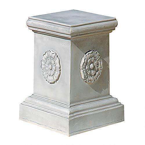 Design Toscano English Rosette Sculptural Garden Plinth Base Riser, Grande 20 Inch, Polyresin, Antique Stone (Renewed)