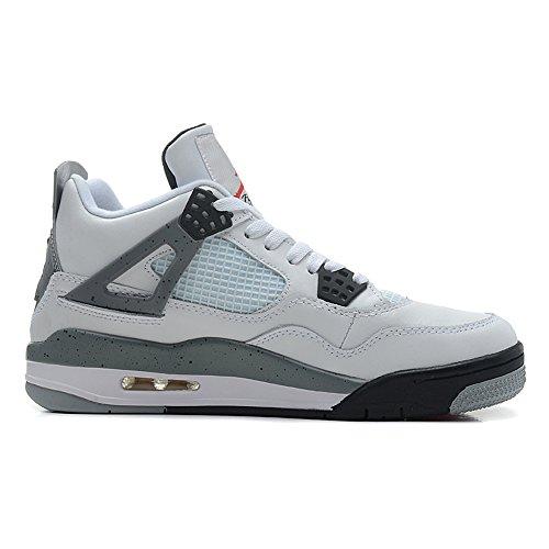 Air 4 Retro  Cement  Air Cushion Snakeskin Men Leather Basketball Shoes White Grey Us11