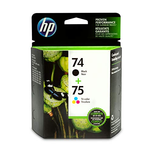 HP 74 Black & 75 Tri-color Ink Cartridges, 2 Cartridges (CB335WN, CB337WN) for HP Deskjet D4260 HP Officejet J5788 J6480 HP Photosmart C4342 C4344 C4382 C4384 C4435 C4440 C4524 C4540 C4550 C5540 C5550 (Photosmart Hp Printer Ink)