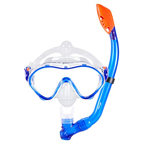 KUYOU Snorkel Set for Kids,Dry Top Snorkel Mask - Anti-Fog and Anti-Leak Easy Adjustable Snorkeling Gear for Children, Boys & Girls,Juniors Freediving Gear Set Age 5. (Blue) (Best Mask Snorkel Set)