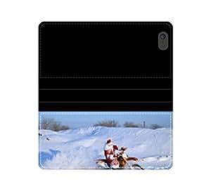 Santa Claus a horcajadas on the motocrós ataum.wb funda de piel con tapa con tarjetero y compartimento para billetes iPhone 4 4S 5 5S 6 6S/Samsung S3 S4 S5