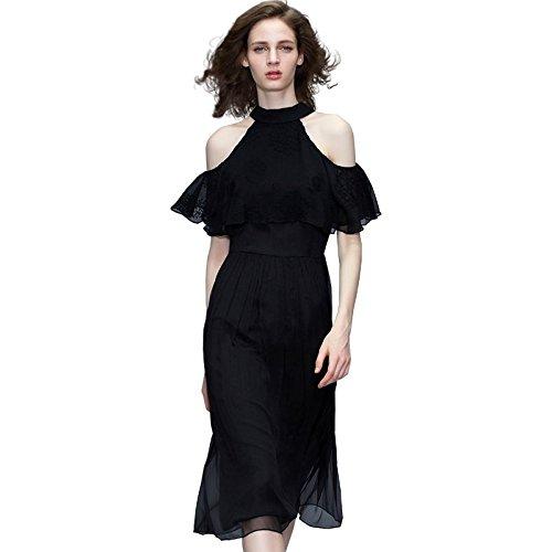 Nouveau Jupe Women's d't 2018 MiGMV Robes M Dames pour Longueur cous Mode Mousseline Robe Mode mi de Black qt4Z14x