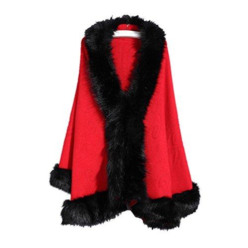 Capes Cardigan Poncho Manteau Femmes Lache en Faux Chale Fourrure Tricot YouPue Rouge Pardessus Cape Manteaux wA78qp