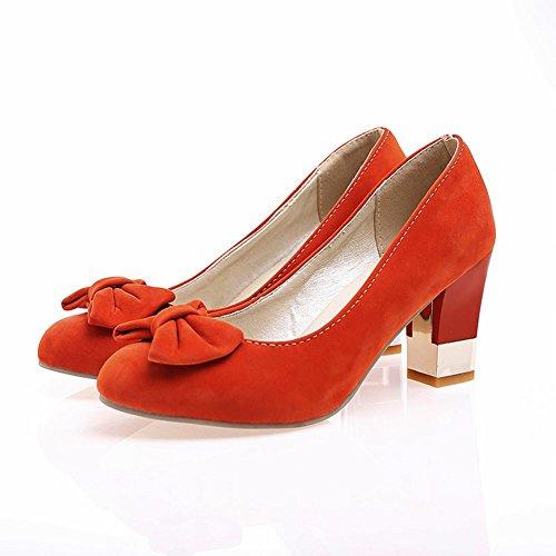 Carol Zapatos Moda Para Mujer Arcos Cuff Grace Party High Chunky Tacón Vestido Bombas Zapatos Naranja