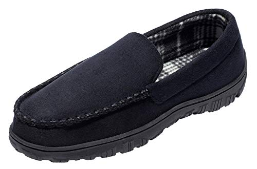 CareBey Men's Comfortable Flats Indoor and Outdoor Loafers Moccasins Slippers Shoes Black US 11 M