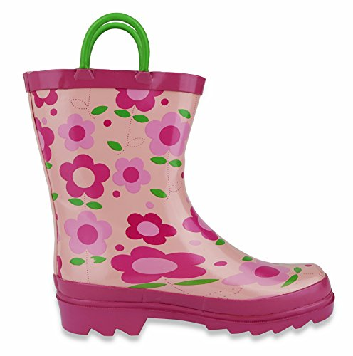 Pictures of Little Girl's Pink Flower Rain Boots Sizes 11/12 10.5 M US Little Kid 7